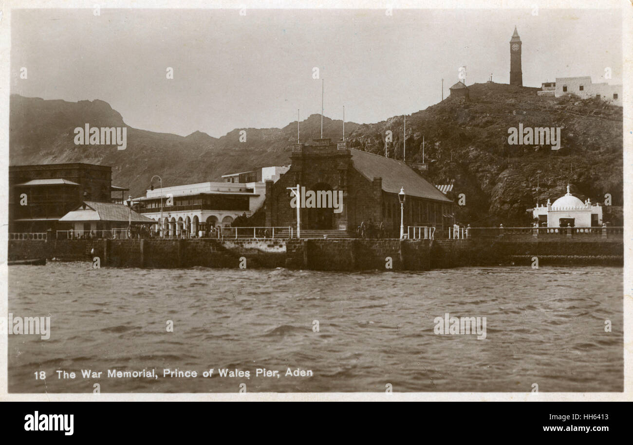 View from the sea, War Memorial, Prince of Wales Pier, British colony of Aden (now in Yemen). - Stock Image