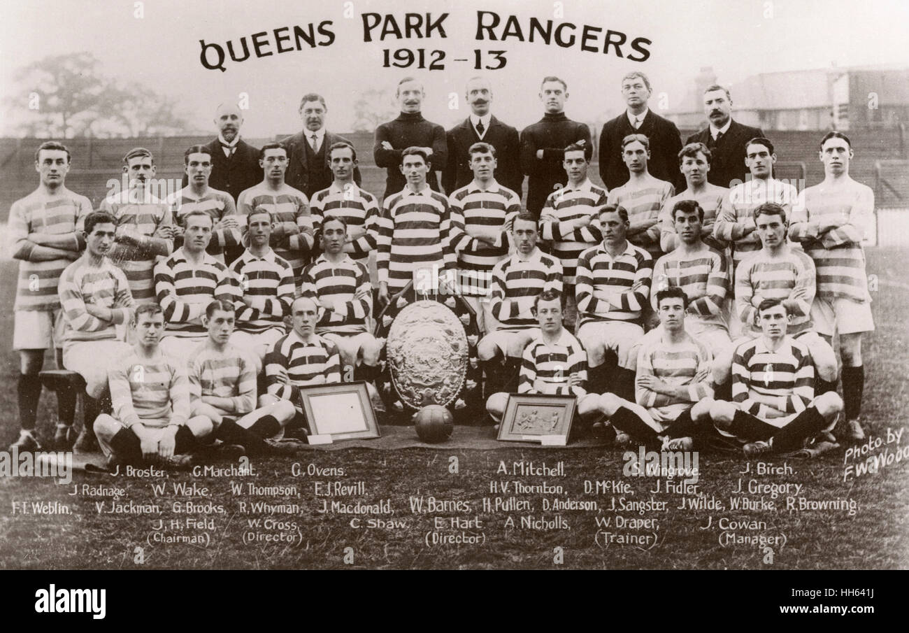 Queen's Park Rangers FC football team and management, with three trophies: Broster, Marchant, Ovens, Mitchell, - Stock Image