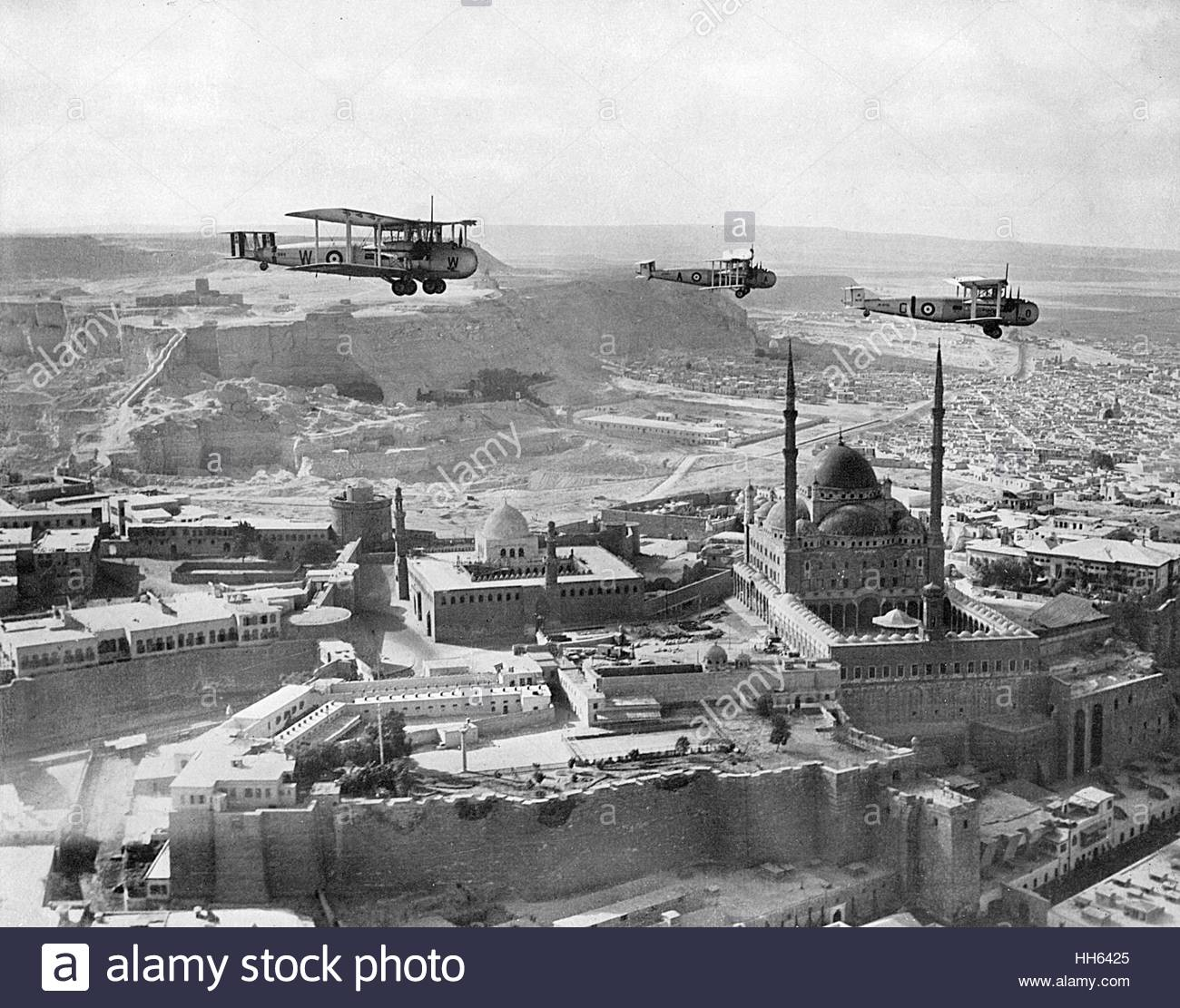 The Citadel of Cairo and Mosque of Mohamed Ali, Egypt, with RAF planes flying overhead. - Stock Image