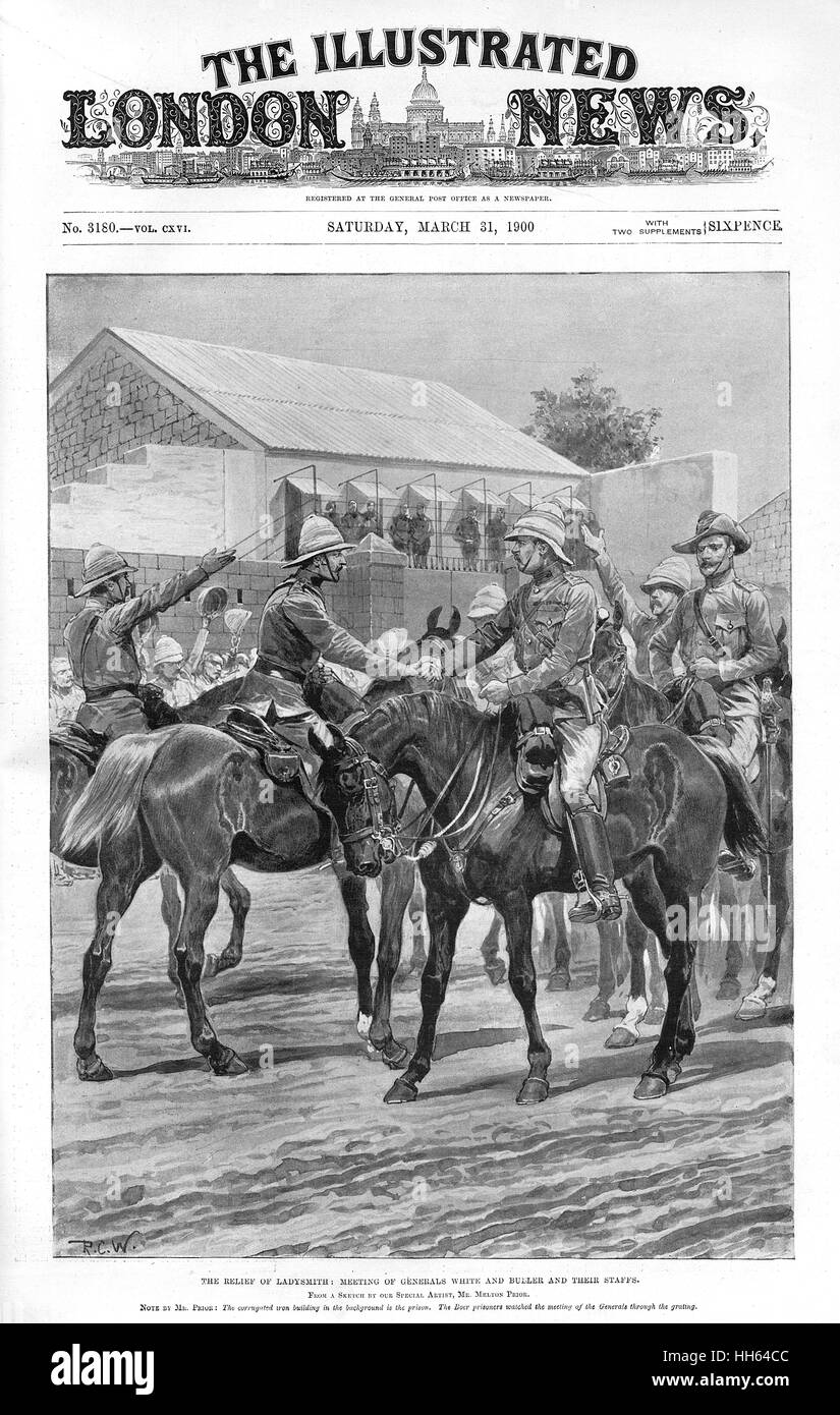 The Relief of Ladysmith: meeting of Generals White and Buller and their staffs, during the Second Boer War (1899 - Stock Image
