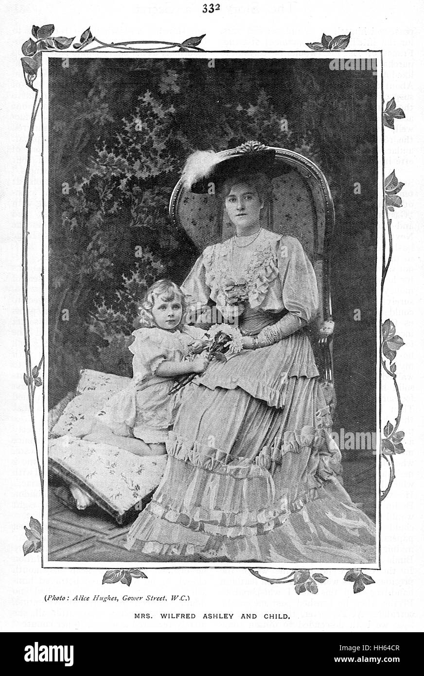 Mrs Wilfred Ashley, wife of 1st Baron Mount Temple, pictured with her elder child, the future Edwina 'Lady Louis' - Stock Image