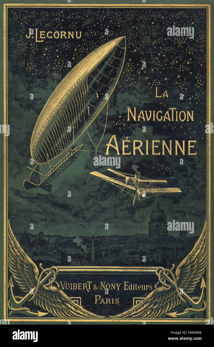 Beautiful cover to La Navigation Aerienne featuring an airship flying through the clouds over a cityscape. - Stock Image