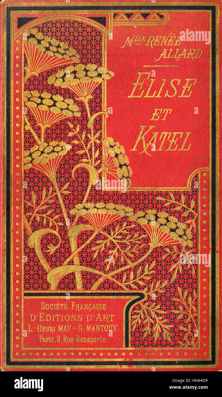 Decorative binding of a book, 'Elise et Katel' featuring stylised flowers in gold. - Stock Image