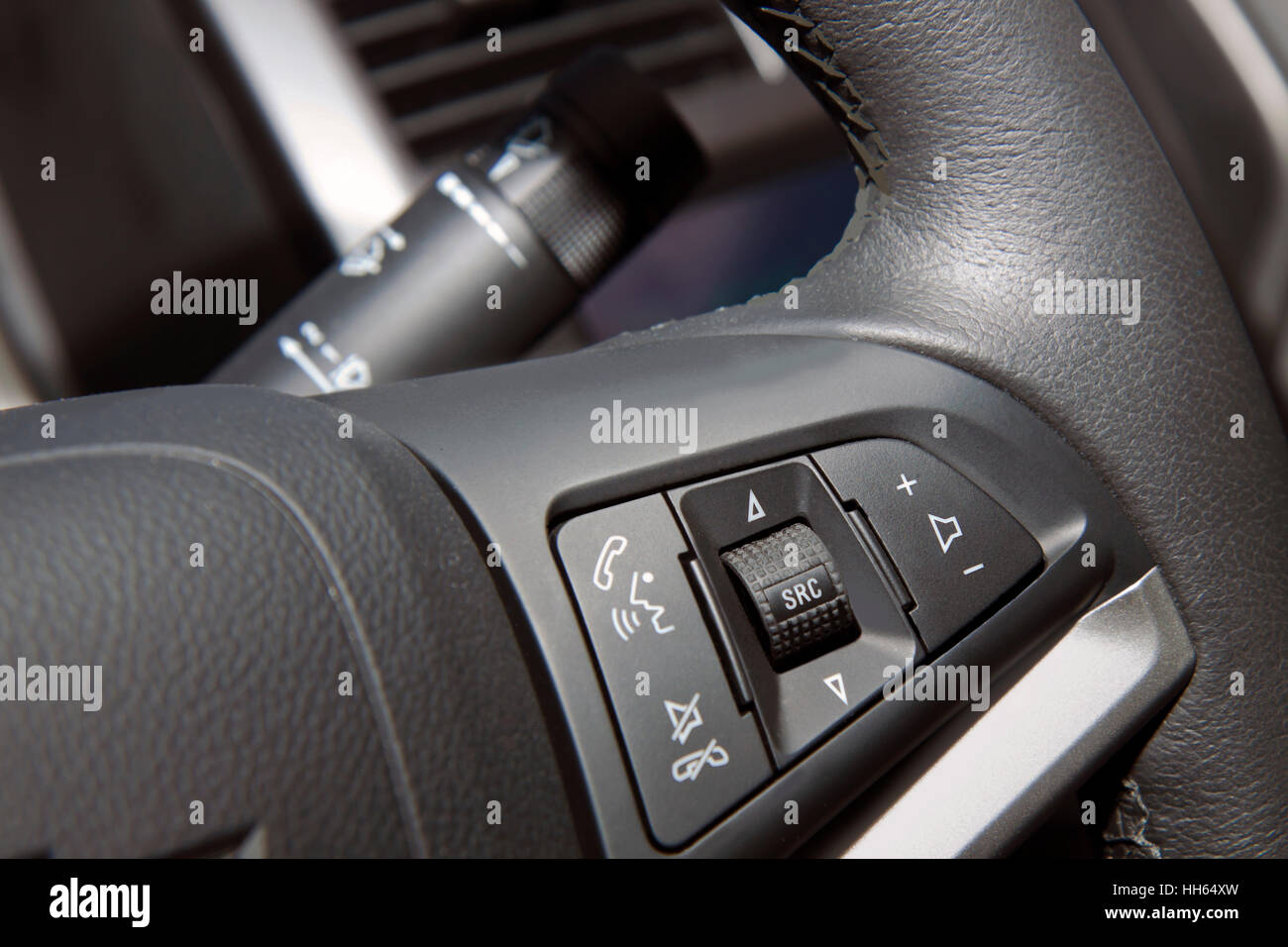steering wheel with system of safety speakerphone Stock Photo