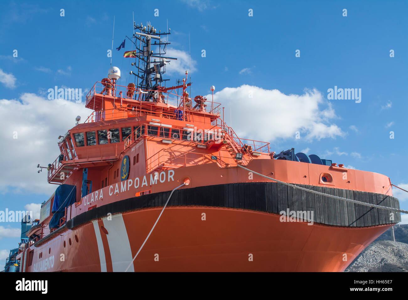 Clara Campoamor resuce vessel moared in the marina of Cartagena in Murcia Spain - Stock Image