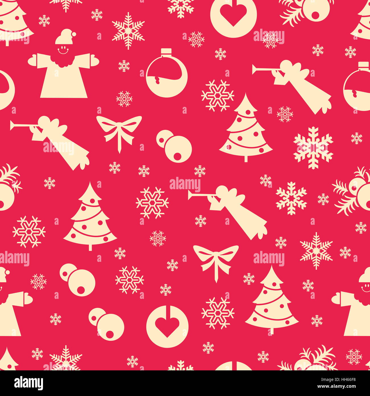 Christmas seamless pastel retro vector patterns tiling. Endless texture can be used for printing onto fabric and - Stock Image