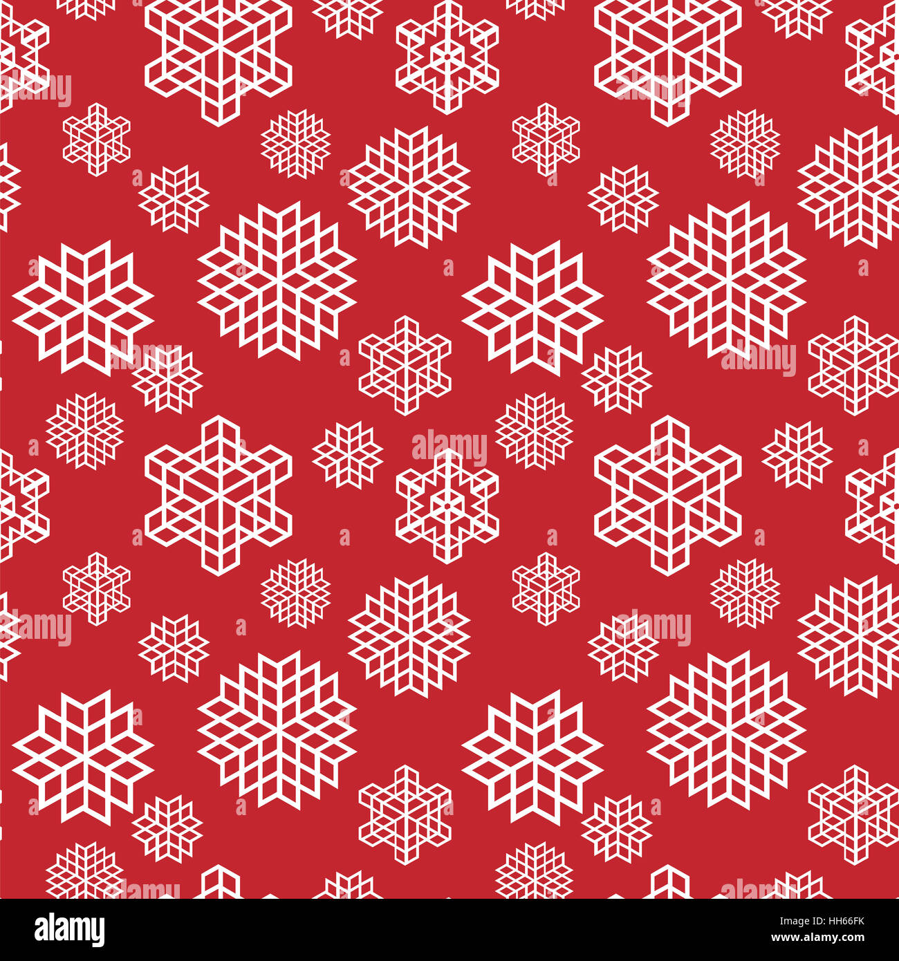 Christmas seamless snowflake retro vector patterns tiling. Endless texture can be used for printing onto fabric - Stock Image