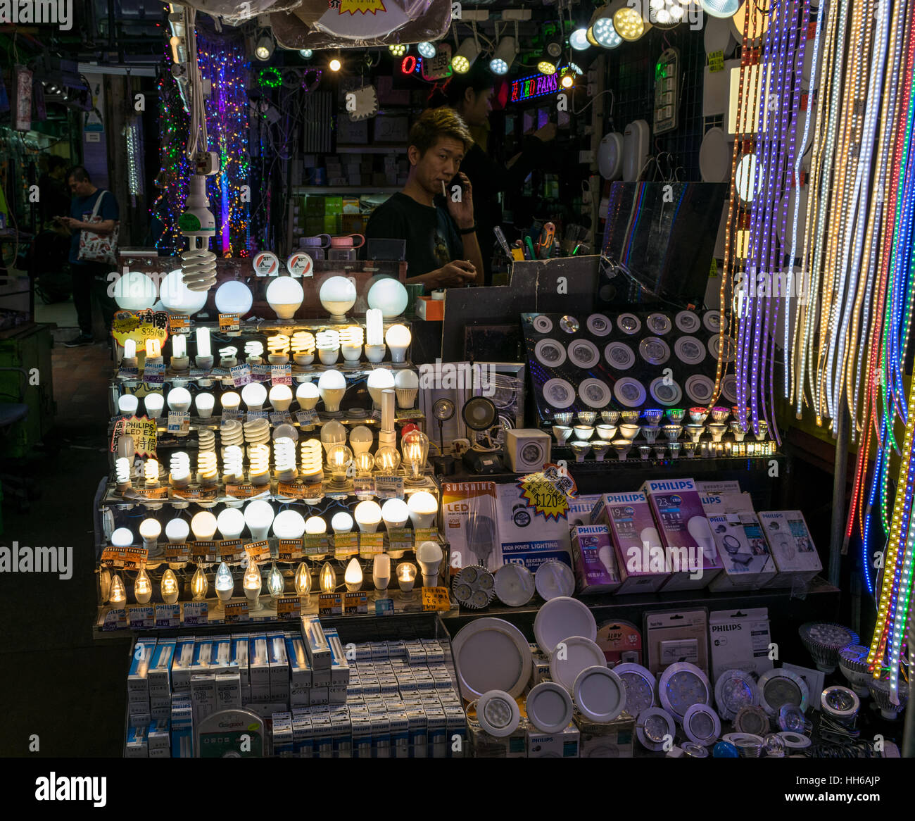 Light Bulb Shop In Hong Kong   Stock Image