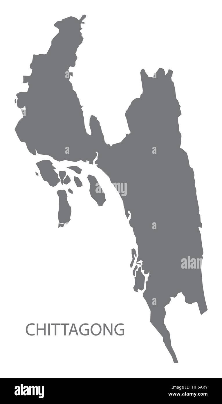 Chittagong Bangladesh Map in grey Stock Vector Art Illustration