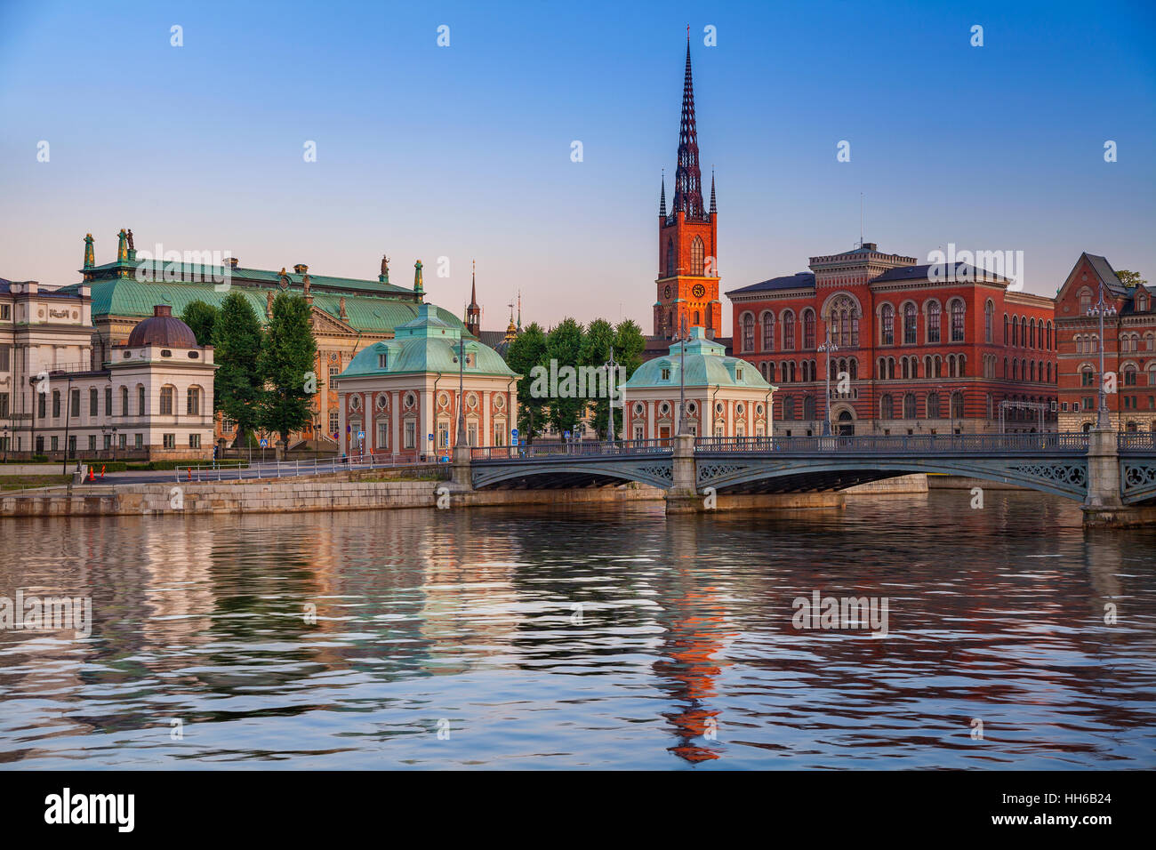 Stockholm. Image of Stockholm, Sweden during twilight blue hour. - Stock Image