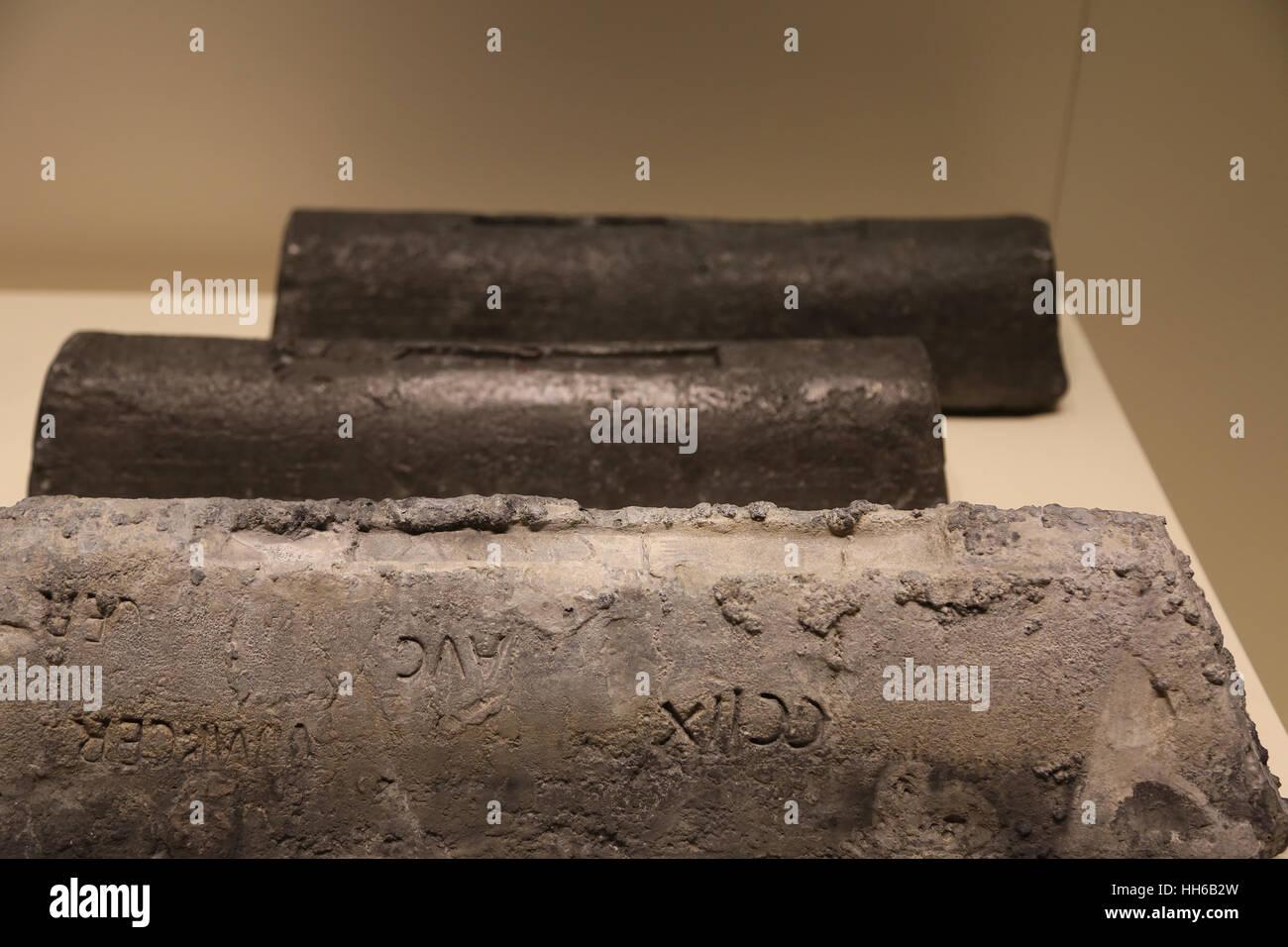 Roman Hispania. Lead ingot. 1st century. Mines of Linares-La Carolina, Sierra Morena mountains, Spain. National - Stock Image