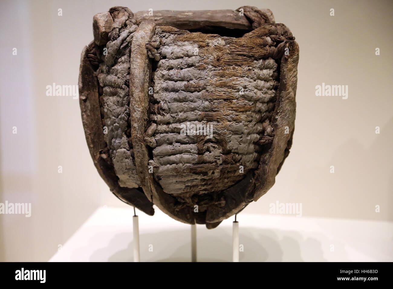 Roman Hispania. Mining. Equipment. Basket. Wood and plant fibres. 1st century. Rio Tinto, Huelva. National Archaeological - Stock Image