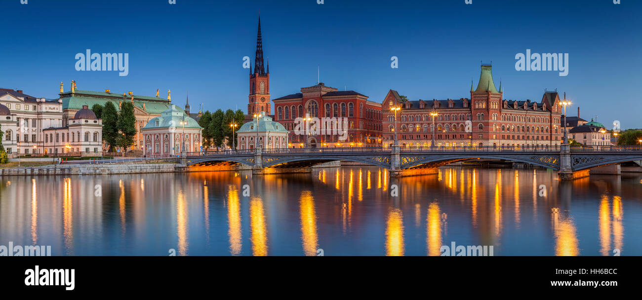 Panorama of Stockholm, Panoramic image of Stockholm, Sweden during twilight blue hour. - Stock Image