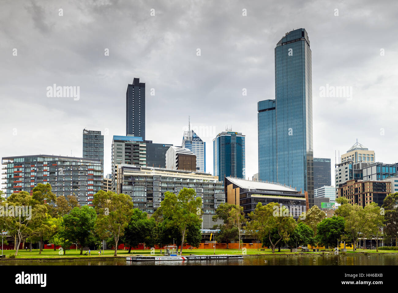 Melbourne City Business District view and the Yarra River - Stock Image