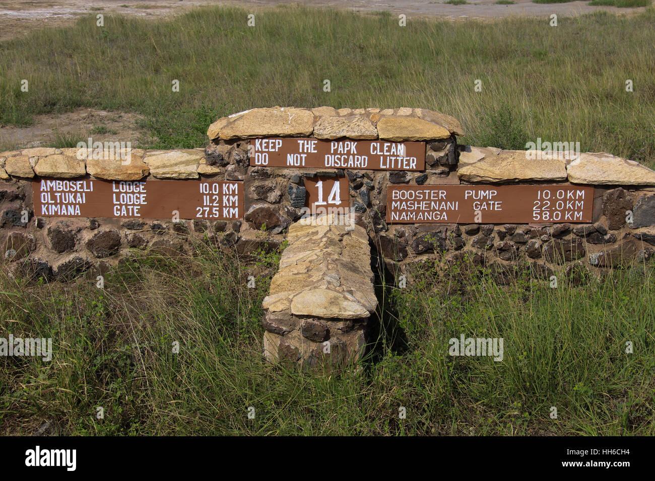 Road sign in Amboseli National Park, Kenya - Stock Image