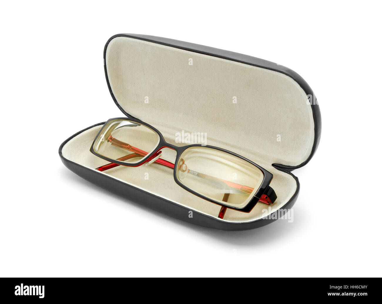 reading glasses in case - Stock Image