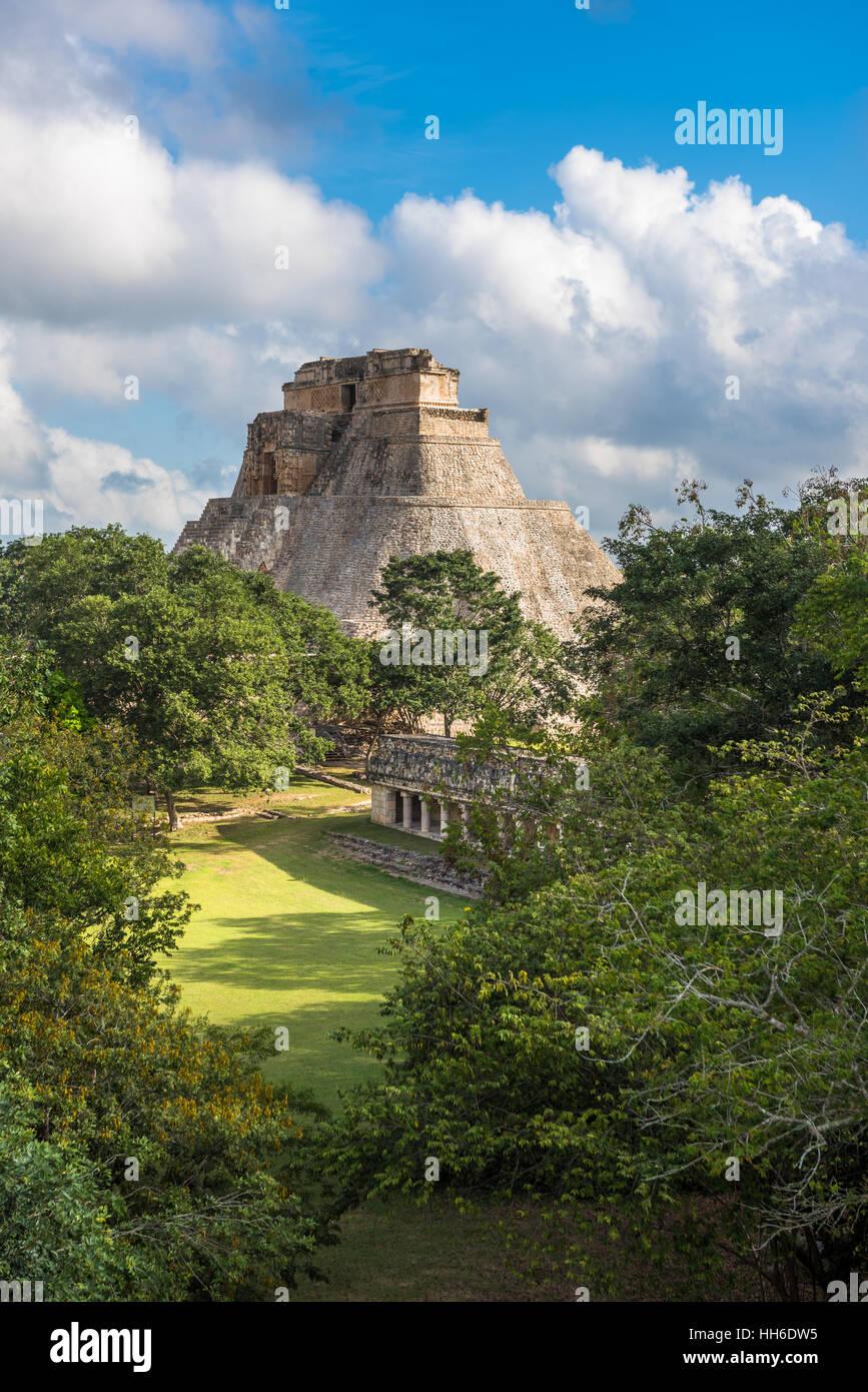 Pyramid of the Magician in Uxmal, Yucatan, Mexico - Stock Image