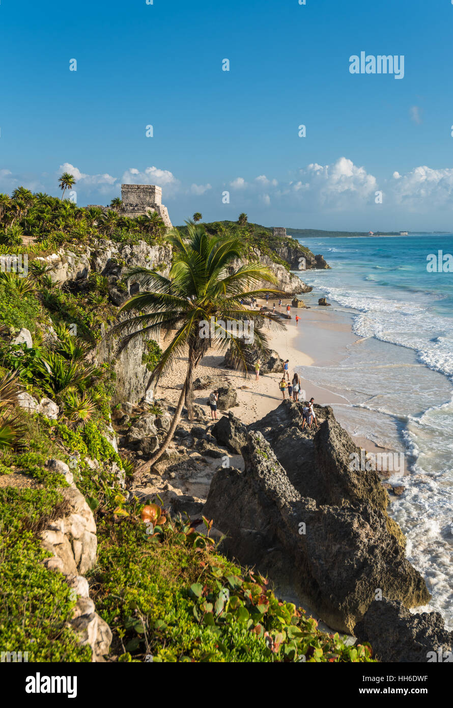 White sand beach and ruins of Tulum, Yuacatan, Mexico - Stock Image