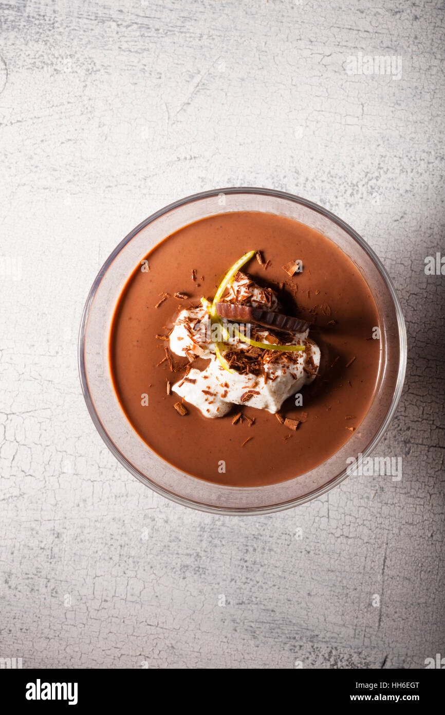 Chocolate Mousse Dessert on a wooden surface - Stock Image