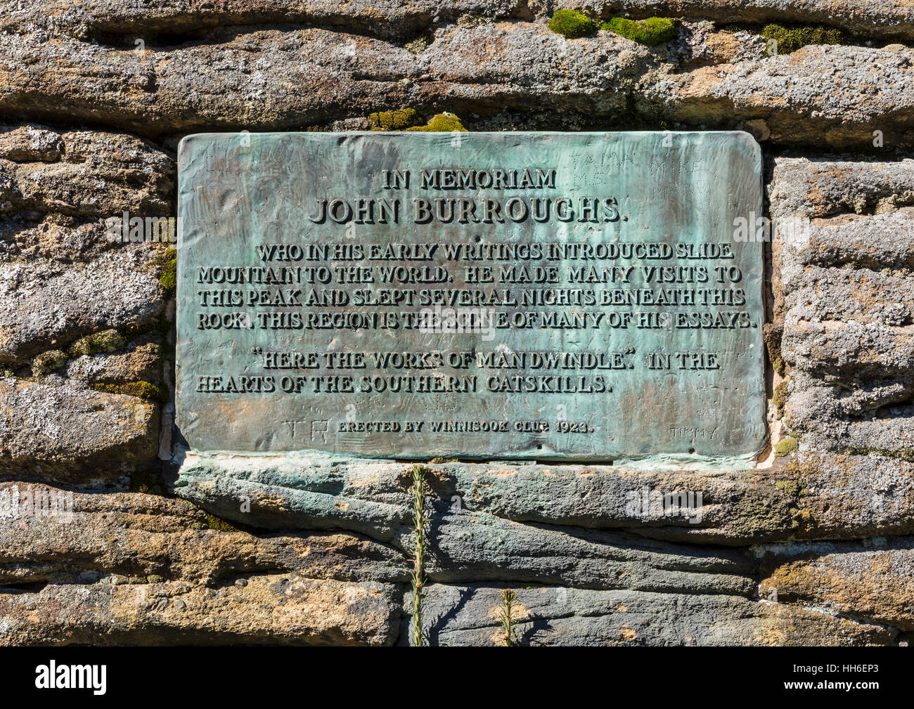 A memorial marker to John Burroughs Slide Mountain in the Catskills Mountains of New York. 'Here the works of - Stock Image