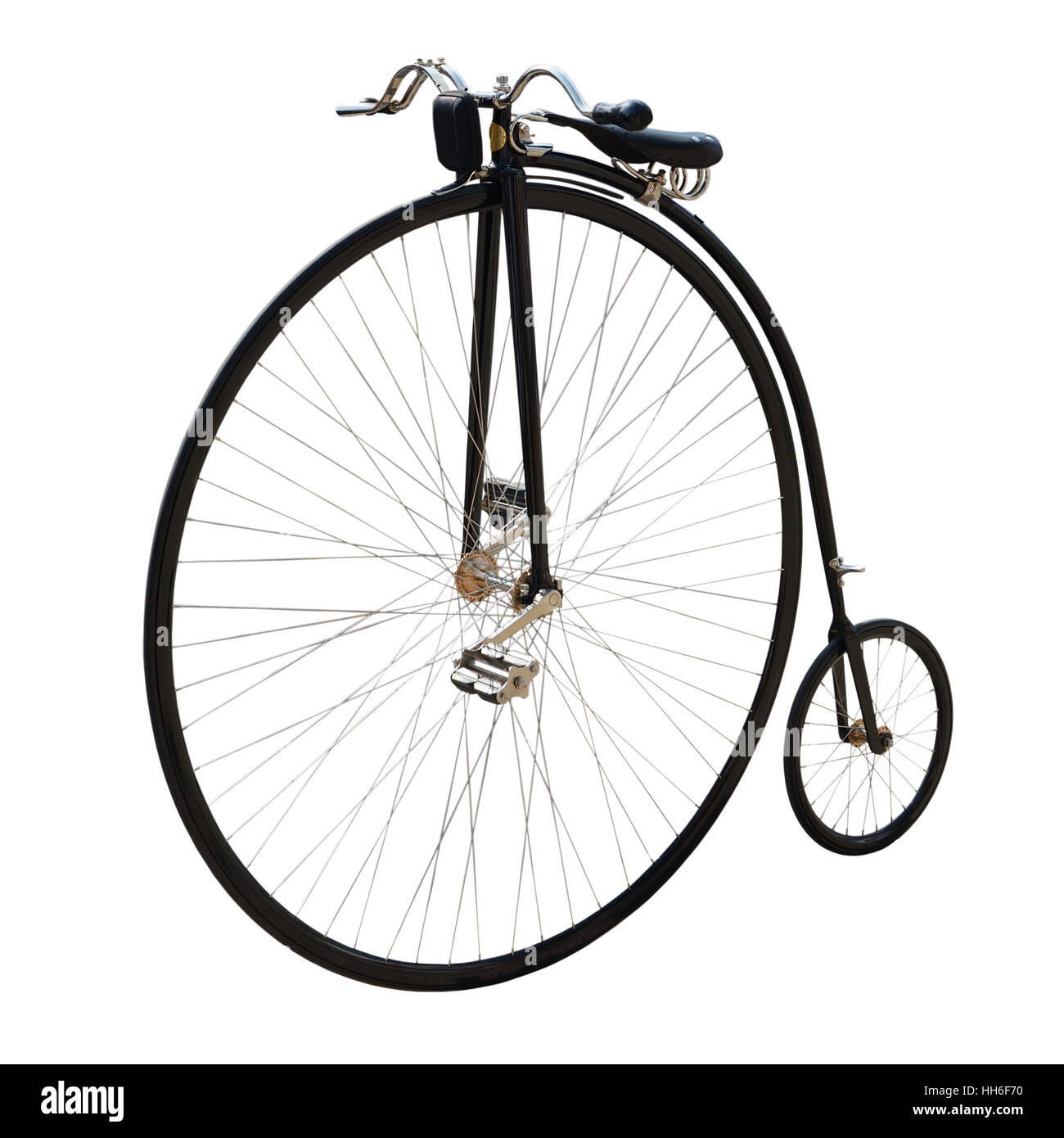 Penny-farthing or high wheel or ordinary. Bicycle with a large front wheel isolated on white. - Stock Image