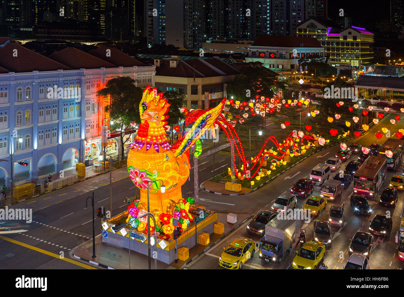 singapore chinatown with lunar chinese new year of the rooster 2017 street decoration lit at night