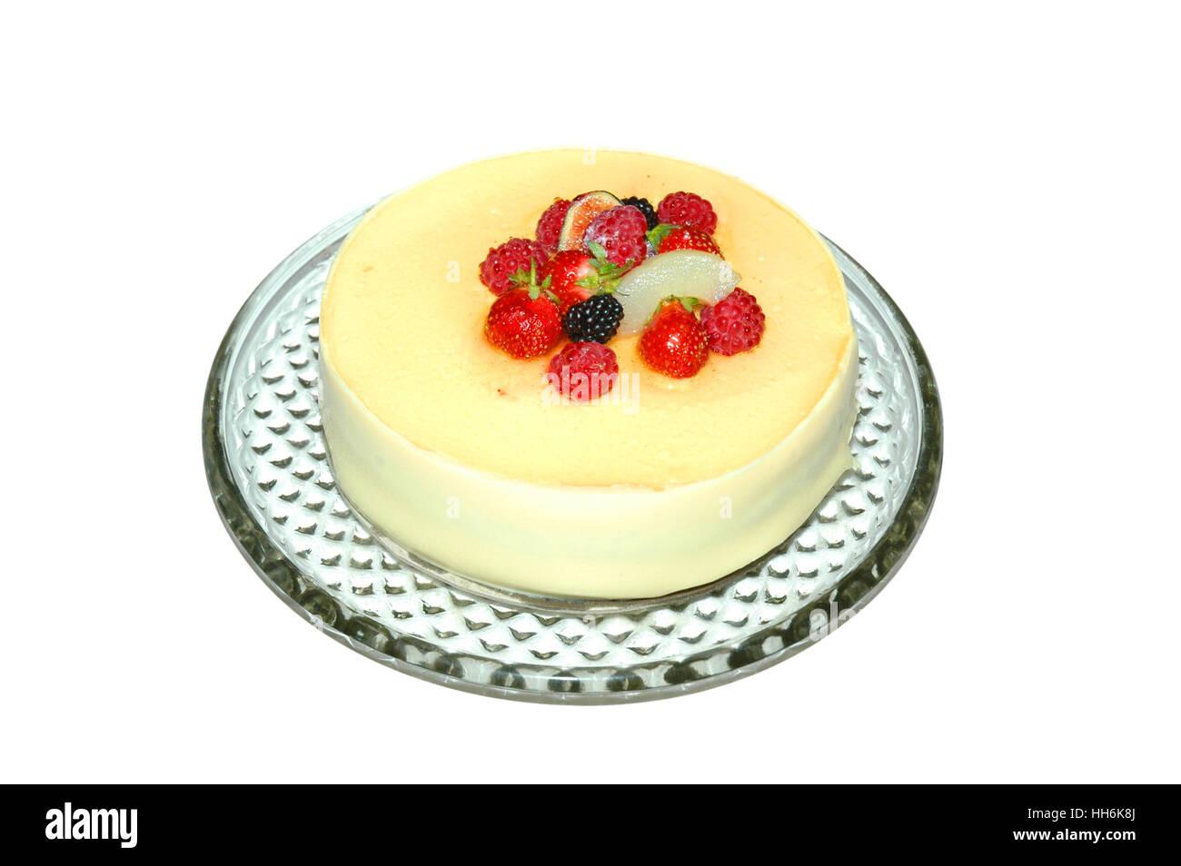 Fruit cake isolated on white Stock Photo