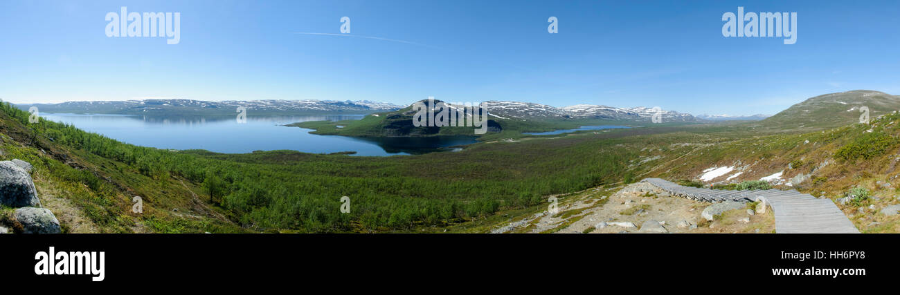 Lapland landscape: panoramic view of Lake Kilpisjarvi and the surrounding area from the top of Saana fell, Kilpisjarvi, - Stock Image