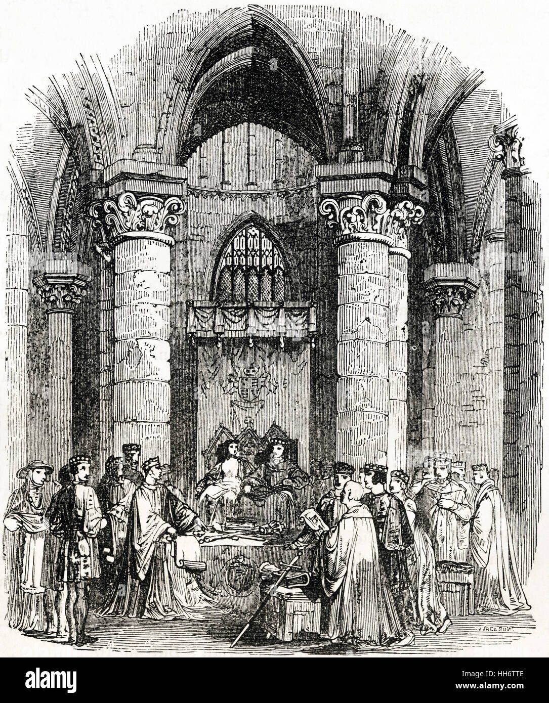 King Edward I holding a parliament at Bury St Edmunds Abbey Suffolk in 1296. Victorian woodcut circa 1845 Stock Photo