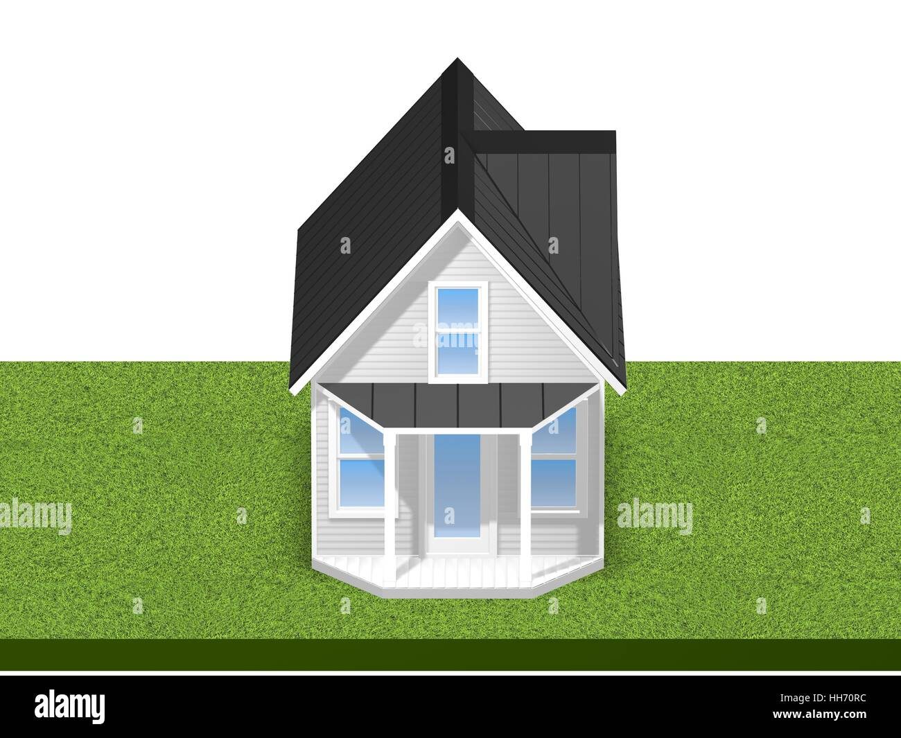3D Rendered Illustration of a tiny house on a trailer.  House is isolated on a white background. - Stock Image