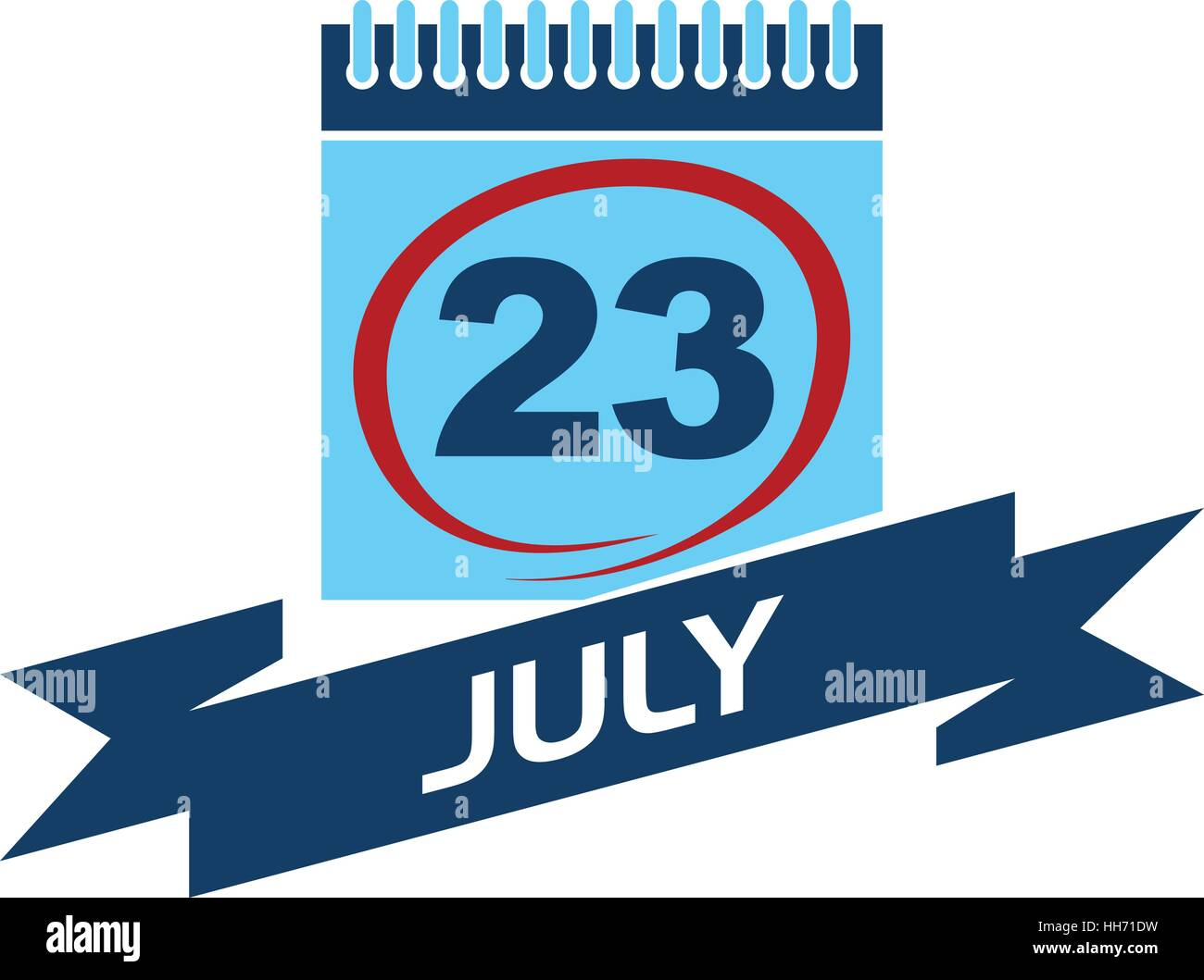 23 July Calendar with Ribbon - Stock Vector
