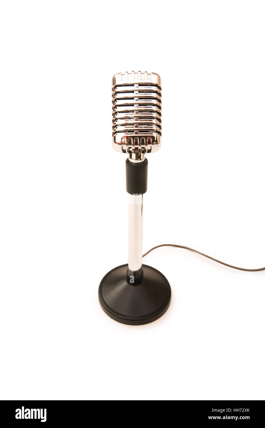 Vintage microphone isolated on the white background - Stock Image