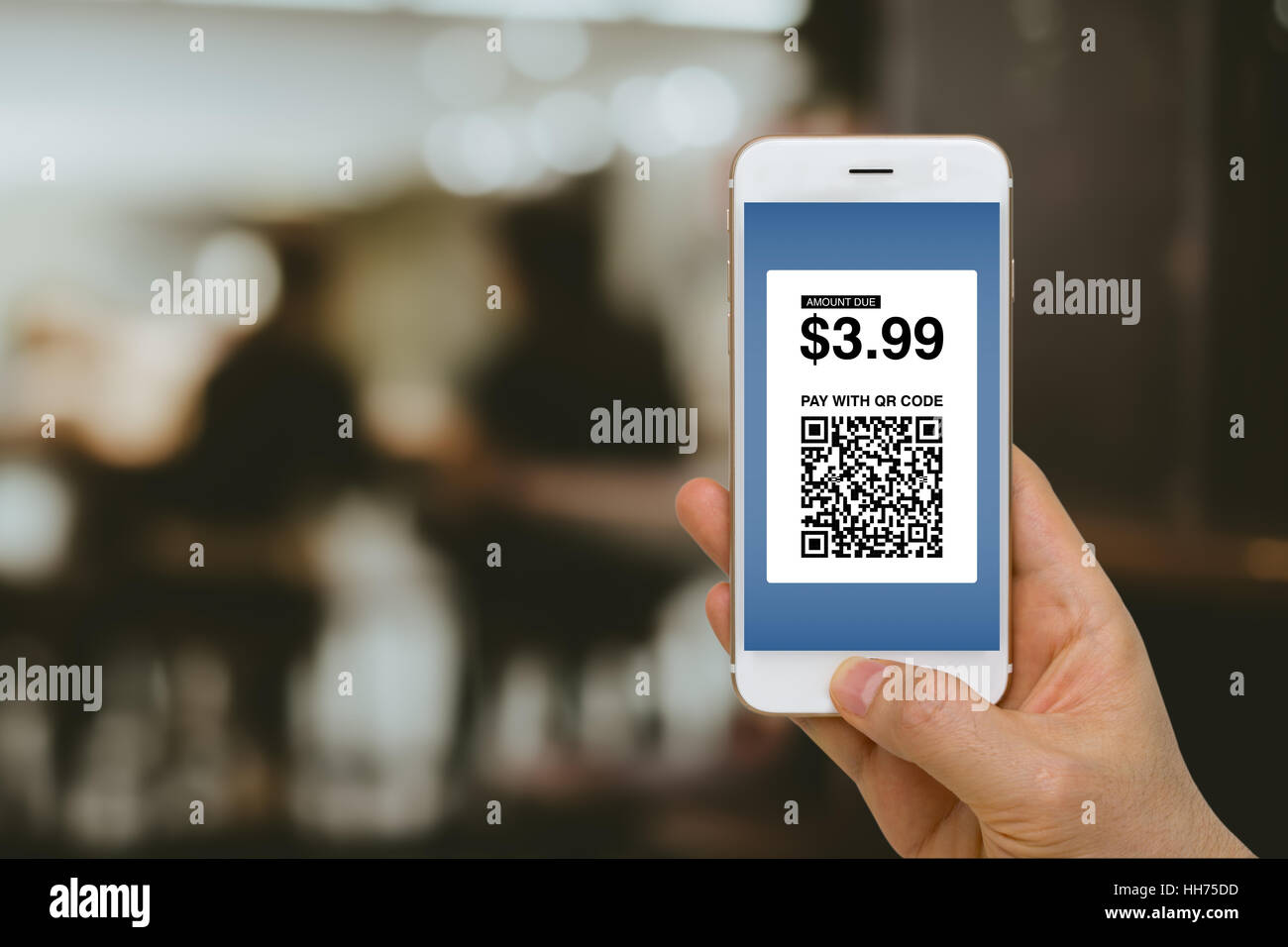 Fintech concept, paying for goods and services by smartphone using E-Wallet and E-Money. Stock Photo