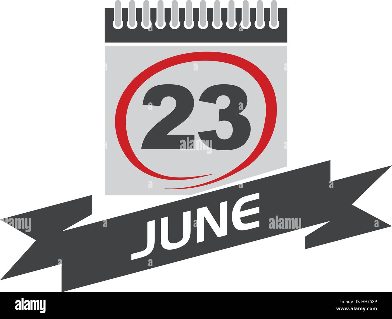 23 June Calendar with Ribbon - Stock Vector