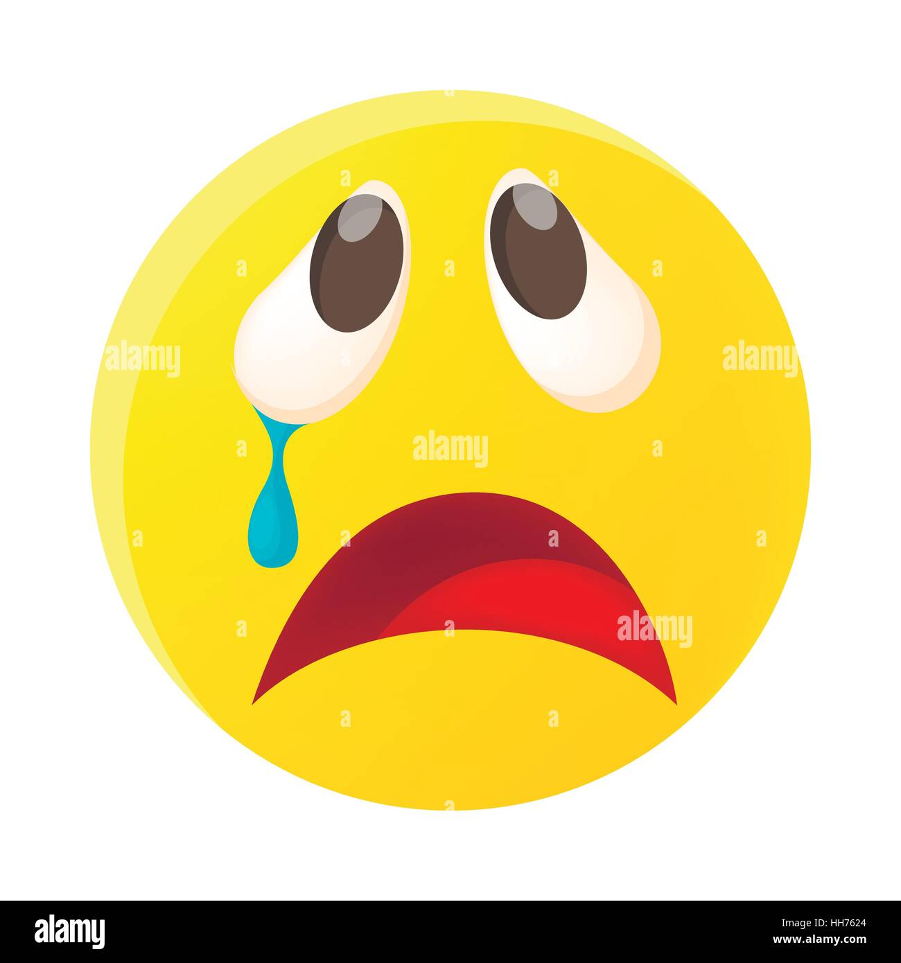 crying face emoticon with tear icon cartoon style stock vector art rh alamy com cartoon picture crying face cartoon crying face free download