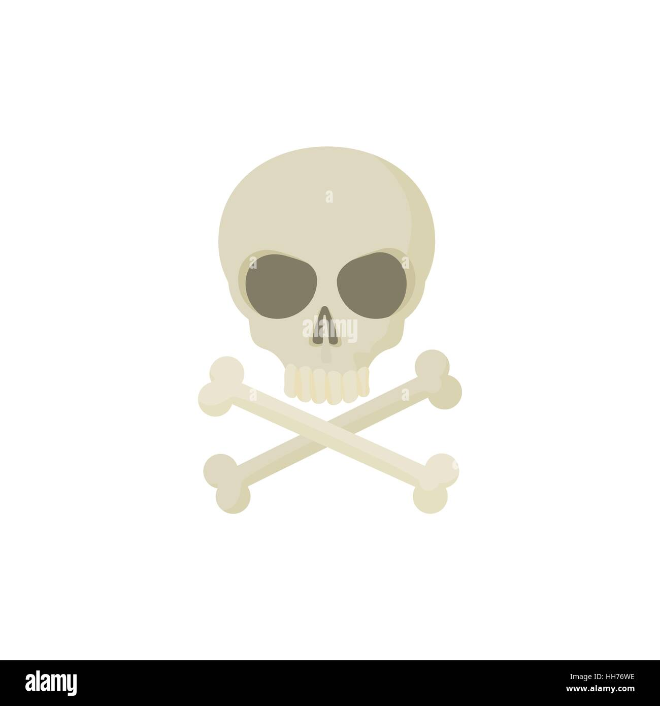 Skull with two crossed bones icon, cartoon style - Stock Image