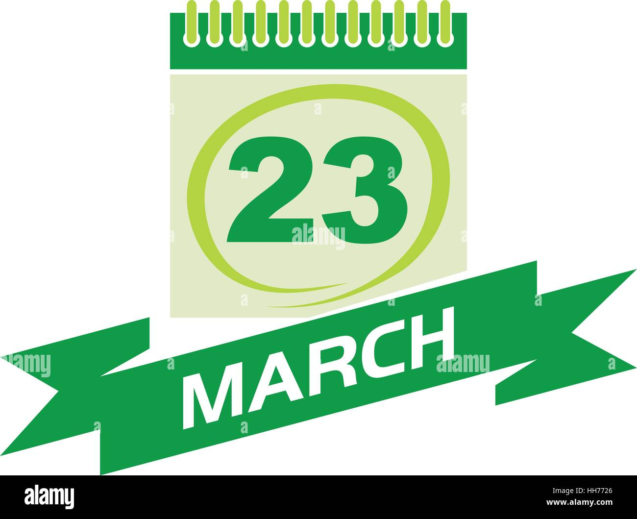 23 March Calendar with Ribbon - Stock Vector