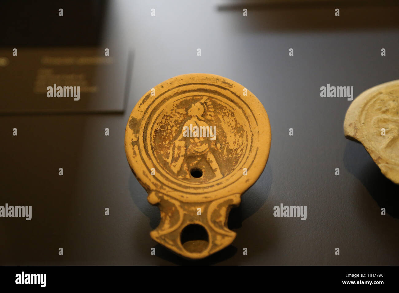 Roman era. Gladiator. Lamp. Clay. 1st century. Urso, Osuna, Seville, Spain. National Archaeological Museum, Madrid. Stock Photo