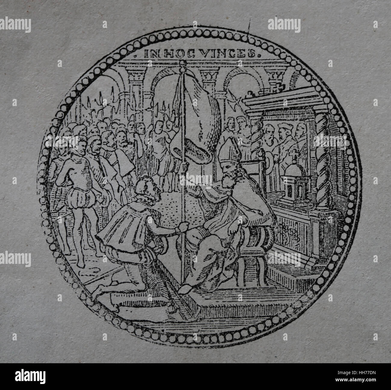 Medallion commemorating the delivery of the flag of the Holy League. Pope Pius V (1504-1572). Engraving, 1882. - Stock Image