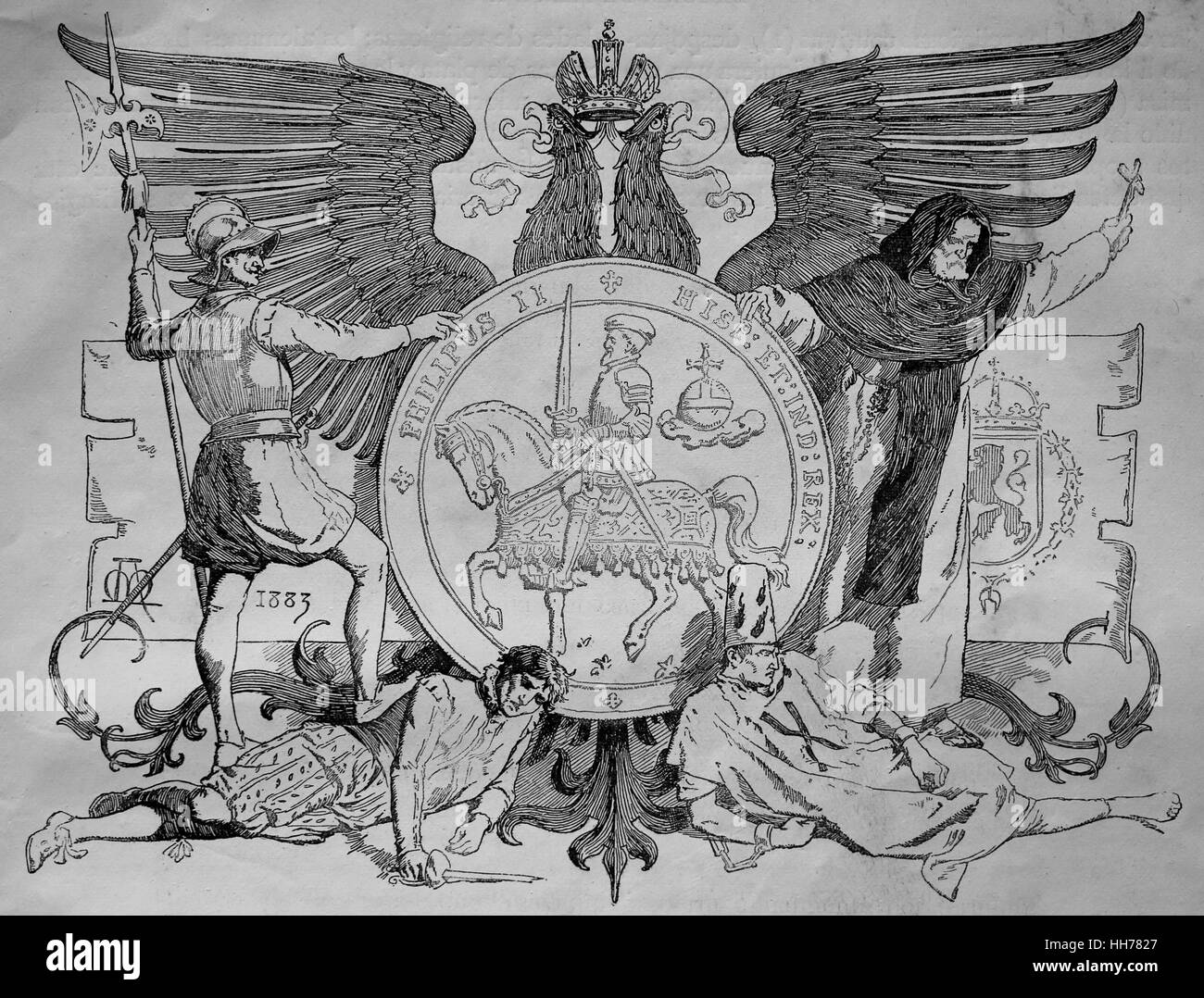 Reign of Philip II of Spain (1527-1598). Engraving, 1882. - Stock Image