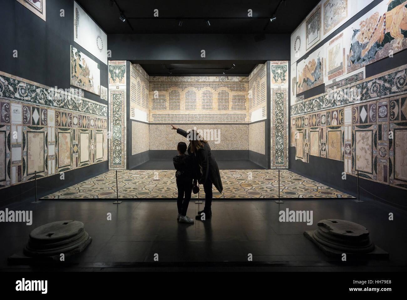 Rome. Italy. MAME Museo Nazionale dell'Alto Medioevo, Piazza Guglielmo Marconi, EUR.  Reconstruction of the - Stock Image