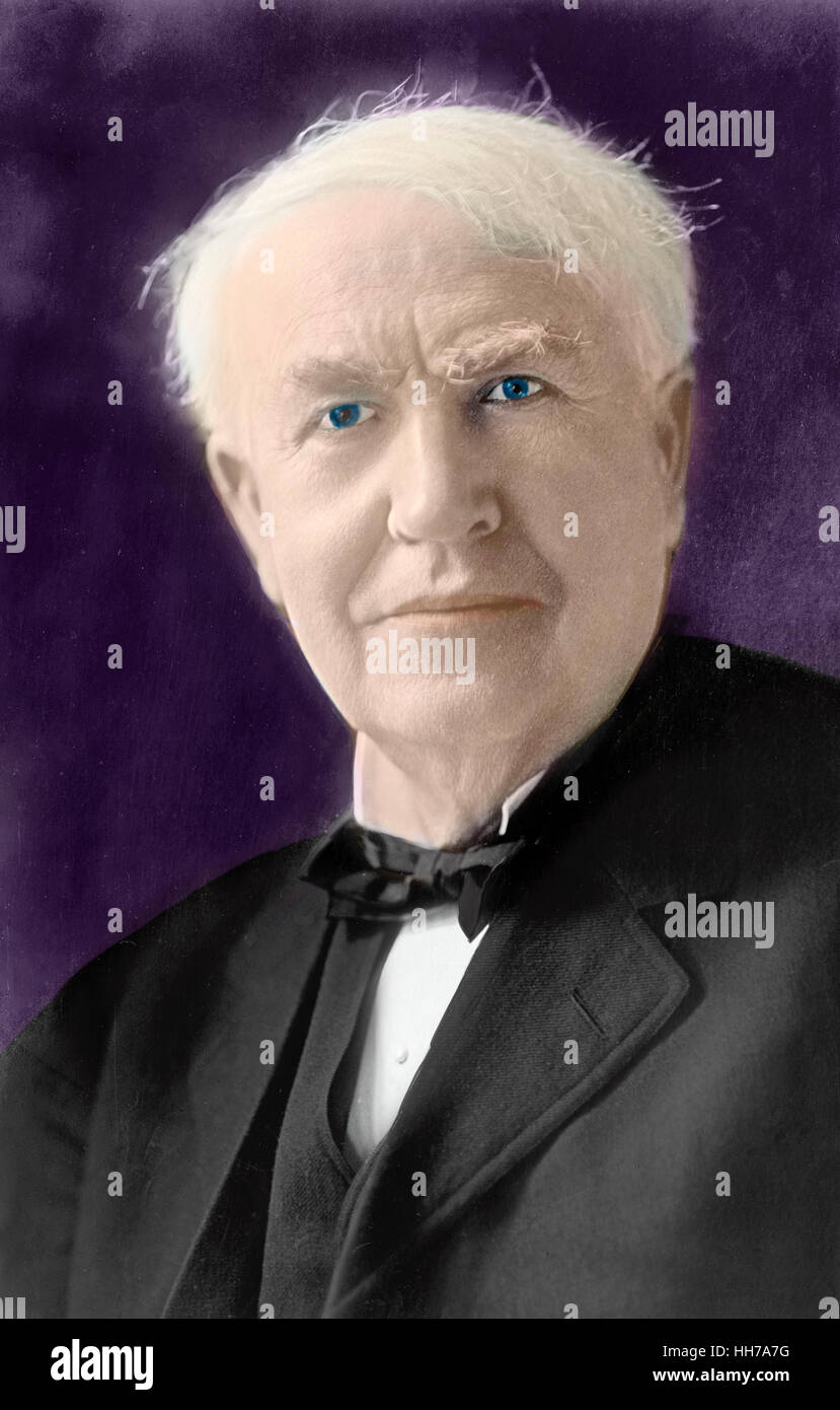 Colorized photo of Thomas Alva Edison, circa 1920 - Stock Image