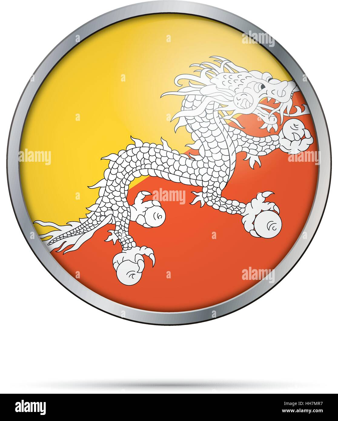 Vector Bhutanese flag button. Bhutan flag glass button style with metal frame. - Stock Vector