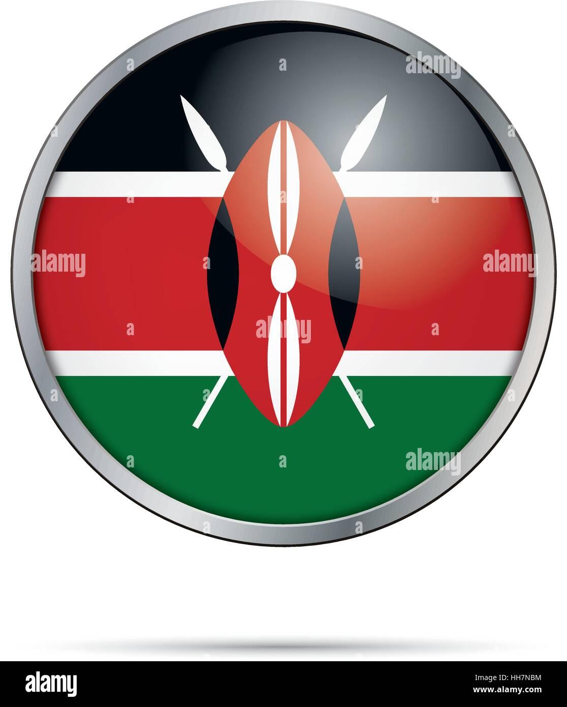 Vector Kenyan flag button. Kenya flag glass button style with metal frame. Stock Vector