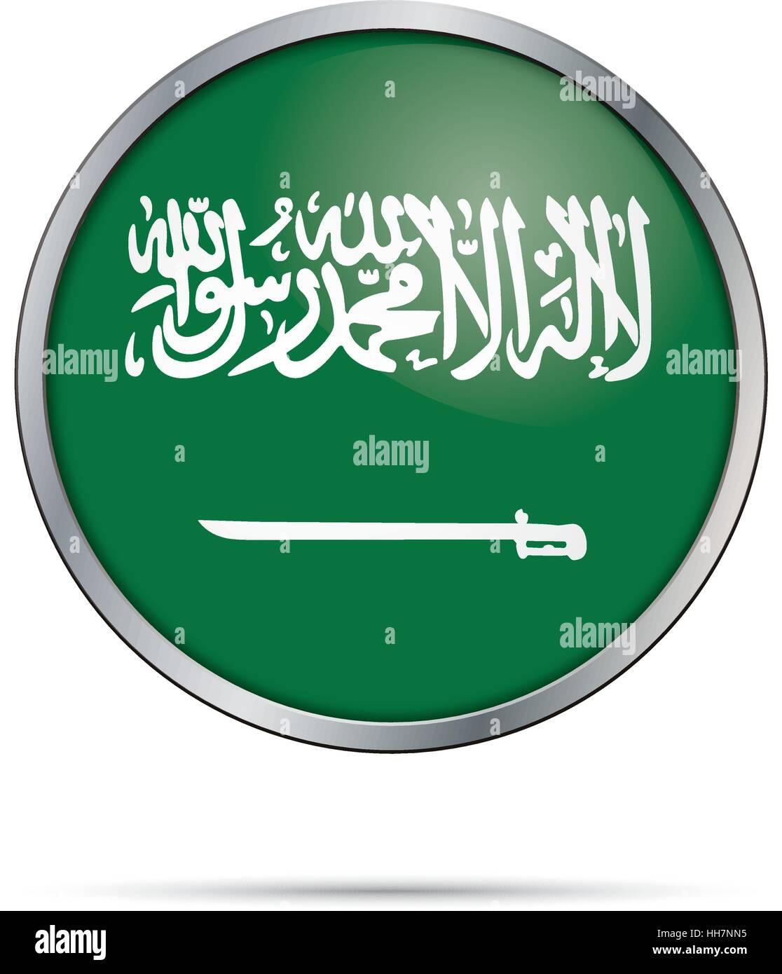 Vector Saudi Arabian Flag Button Arabia Glass Style With Metal Frame
