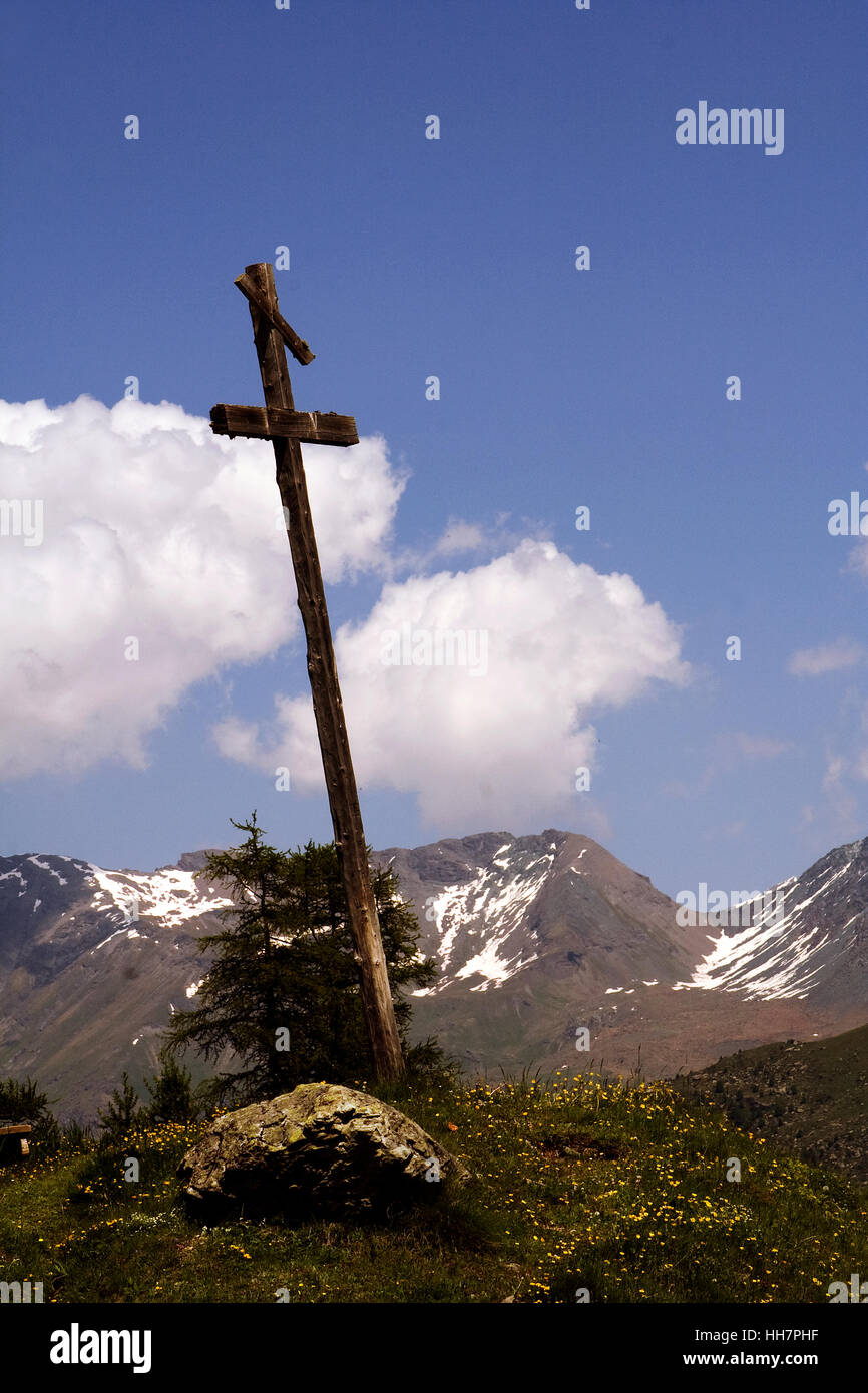 cross mountain blu sky Stock Photo