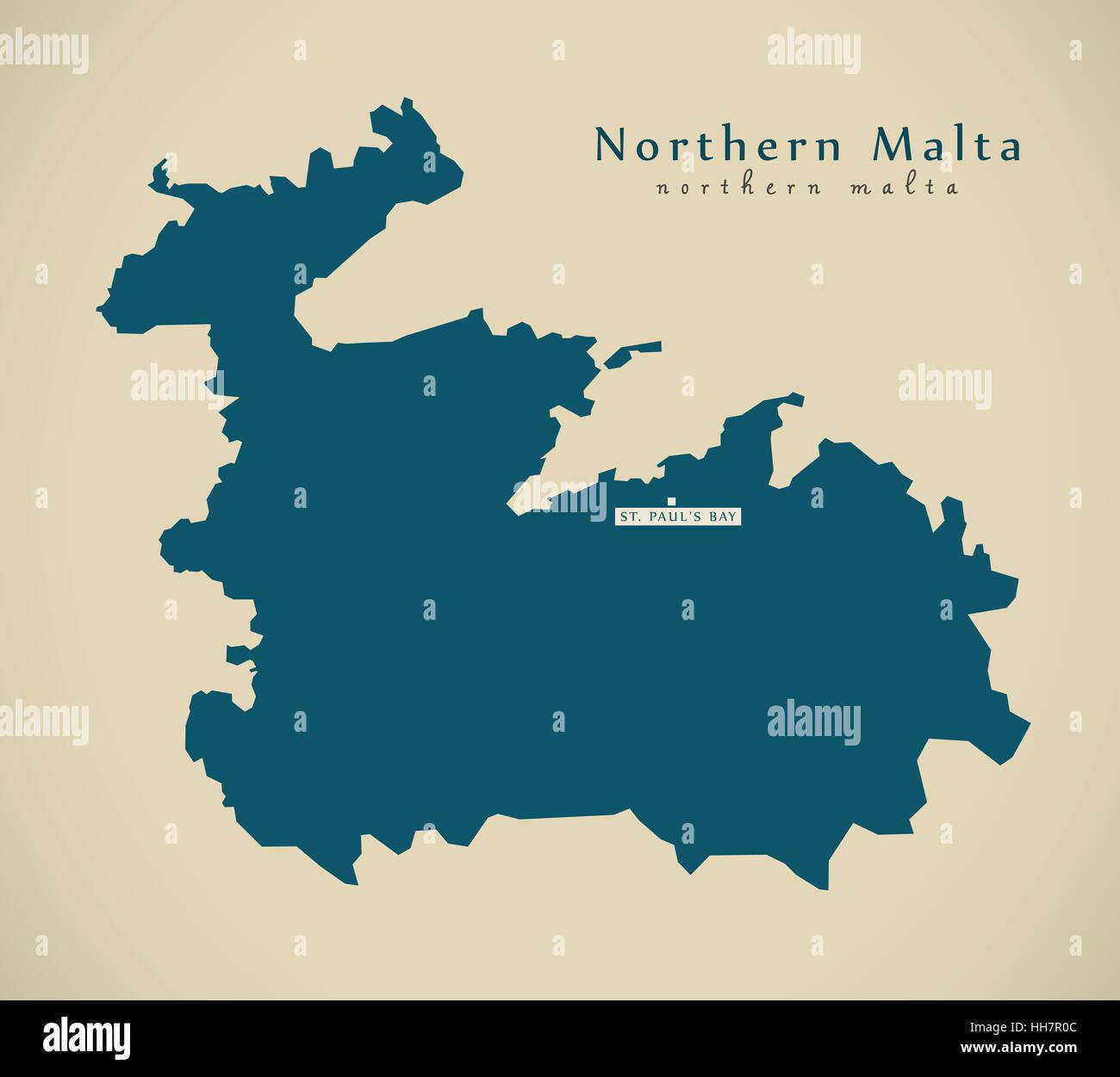 Modern Map - Northern Malta MT illustration - Stock Image
