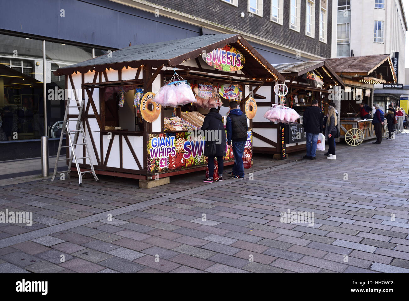 Sweet stall in Middlesbrough town centre on pedestrian precinct - Stock Image