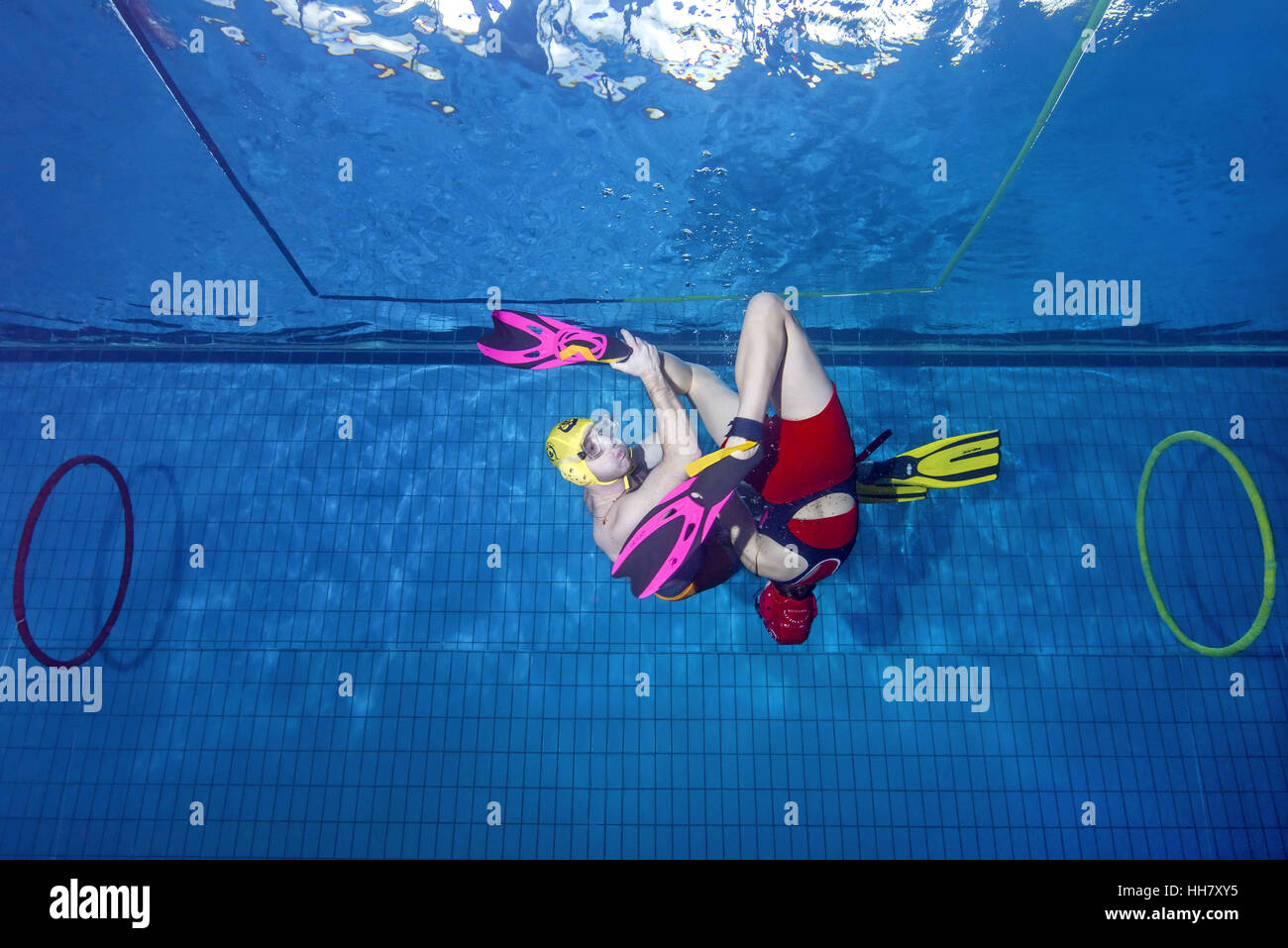 Nikolaev, Ukraine. 15th Jan, 2017. Aquathlon (underwater wrestling) Swimming pool, Nikolaev, Ukraine, Eastern Europe - Stock Image