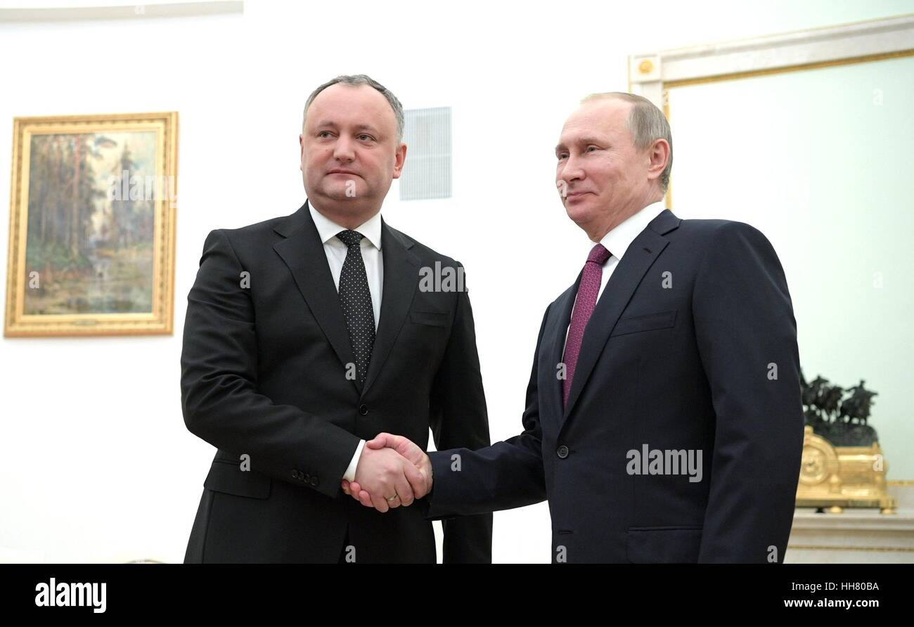 Russian President Vladimir Putin meets with Moldova President Igor Dodon at the Kremlin January 17, 2017 in Moscow, - Stock Image